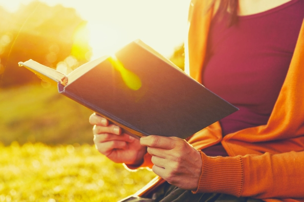 46650399 - hands holding book and reading in summer sunset light