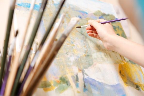 74445524 - successful kid painting in the art studio